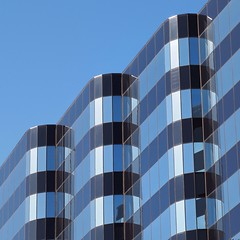 Abstract Architecture (2n2907) Tags: abstract architecture reflection glass office building windows skyscraper graphic geometric geometry pattern lines curves blue stripes diagonal urban structure engineering art