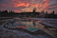 Sunset in Yellowstone (Victor Ye) Tags: nationalpark yellowstone waterscape landscape colorful water outdoors nature hotspring sunset