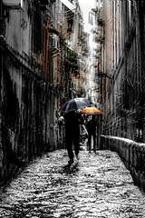 Rainy day in Naples (Honza 007) Tags: naples street streetphotography streetview man woman rain ambrella light lights building bw colours colour art blurish blurism blur black white walk picture painting