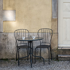 'Bica' (Canadapt) Tags: chairs table door wall sidewalk coffee cups two pair invite sintra portugal bica canadapt