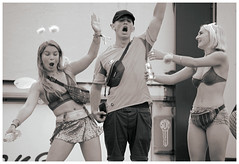brighton pride street parade 2019 - oh, you pretty things (pg tips2) Tags: parade pride peaceful protest bw 2019 brightonstreetphoto candid street brightonstreetportrait brightonstreetcandid streetcandid revellers spectators streetparty bowie davidbowielyrics ohyouprettythings groupshot three 3