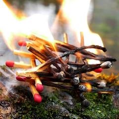 Ephemeral Work (Le.Patou) Tags: challenge macromondays handmade fz1000 closeup square fire artwork match flame smoke stack jsslll outside