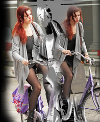 special (Henk Overbeeke Atelier54) Tags: girl street candid photoshop nylons minidress bike bicycle bicicletta vélo fiets fahrrad longhair red boots cityartistsfreeart