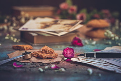 Let The Good Times Roll (Chapter2 Studio) Tags: stilllife sonya7ii solitude chapter2studio calm coffee cookies memories moody mood books pen postcard oldphoto vintage