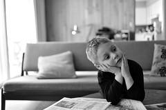 undecided (l i v e l t r a) Tags: blackwhite df 35mmf2d f2 undecided child nikkor lean sofa familyroom unsure bw monochrome daydream ponder