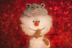 hee hee... Santa is coming! HMM (Dotsy McCurly) Tags: macromondays handmade hmm happymacromonday fuzzy snowman mittens mouse hat christmas decoration canoneos80d efs35mmf28macroisstm