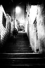 ManOnStairs (MartinGerbrandy) Tags: middleeast 2019 amman jordan streetphotography travel stairs bricks scene holiday business destination walk sports workout bw black white light texture bright dark high key
