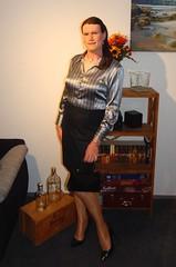 Only four workdays left for 2019 (Rikky_Satin) Tags: stripes silk satin blouse skirt pantyhose highheels pumps crossdressing crossdresser transvestite tranny tgirl tgurl sissy secretary feminization m2f