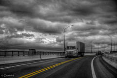 Double Yellow (* Gemini-6 * (on&off)) Tags: sky clouds truck trailer street bridge lights hdr monochrome blackandwhite selectivecolor
