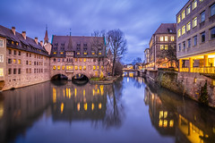 Nuremberg at blue hour (Vagelis Pikoulas) Tags: nuremberg bayer germany travel holidays longexposure blue hour tokina 2470mm canon 6d city cityscape landscape reflection reflections urban houses house december winter 2019 water