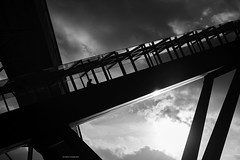 Up (bernd obervossbeck) Tags: zechezollverein rolltreppe movingstaircase movingstairway architecture architektur weltkulturerbe worldculturalheritage ruhrgebiet essen nordrheinwestfalen coalmine gegenlicht backlight schwarzweis schwarzweiss blackandwhite bw fujixt3 acros filmsimulation himmel sky silhouette berndobervossbeck