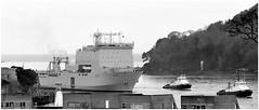 RFA Lyme Bay..... (PAUL YORKE-DUNNE) Tags: rfalymebay rn hmnb devilspoint plymouth tugs boats ships royalnavy canonm50 efm18150mmlens monochrome blackwhite mono bw