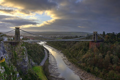 The Avon Gorge (HiJinKs Media...) Tags: bristol avongorge riveravon bridge clouds cliftonsuspensionbridge leighwoods trees forest woodland river riverbank architecture sun sunlight morning cliffs city landscape colours colors outside nature seasons portway cars road design engineering industrial isambardkingdombrunel historic perspective vanishingpoint
