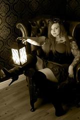 Lady with the Lamp! (David Blandford photography) Tags: lamplight little goth fareham studio steampunk black white bw mono