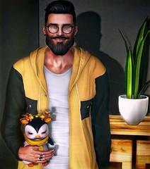 [ 📷 - 232 ] (insociable.sl) Tags: yellow reindeer deer christman xmas cute pet animal penguin hoodie beard model boy man male edit sl secondlife