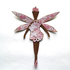 Fairy (JuliaPeculiart) Tags: fairy paperdoll paper doll papercrafts handmade etsy juliapeculiar pixie fae faerie winged wings flowers