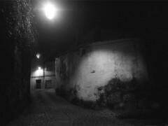 Houses of old (lebre.jaime) Tags: portugal beira covilhã nocturnal nightphotography architecture traditionalarchitecture analogic film135 bw blackwhite noiretblanc nb pb pretobranco ptbw leicam3 summaron2835goggles epson v600 affinity affinityphoto existinglight