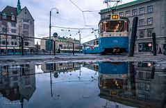 Gothenburg in Reflection (Fredrik Lindedal) Tags: tram reflection reflections puddle puddlegram city cityscape cityview water rain sky streetview street streetvision streetart lindedal gothenburg göteborg sweden sverige