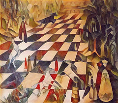 Self-Portrait Allegory (scilit) Tags: chess chesspieces queens rooks horses trees landscape horizon grasses red gold black pawns knights allegory storytelling selfportrait portrait manipulation art vivid awardtree