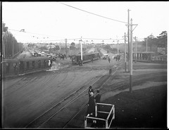 Trams returning from Randwick Races, ca. 1925 (State Library of New South Wales collection) Tags: trams randwick races sydney