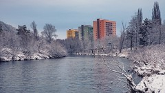 Three towers on the river bank (Slávka K) Tags: river building city winter december 2019 natur country color cold nopeople walking water curve snow trees