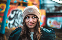 what? (gyuri106) Tags: portrait portraitphotography women girl beauty eyes faded colors colorful hair face 50mm 50mmf18 niftyfifty canon canon6d fullframe wintertime justgoshoot capture graffiti budapest margaret island