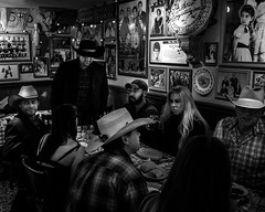 024693764230965-119-19-12-The Cowboys and Cowgirls of Cowboy Trail Rides-2-Black and White (Don't Mess With Jim) Tags: 2019 ameriaca christmaslights fujifilmxt30 lasvegas nevada people cowboy cowgirl december party restaurant monochrome blackandwhite