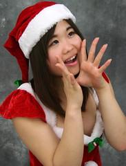 """Can You Hear Me, Santaaaaa?"" (emotiroi auranaut) Tags: teenage girl cute beauty adorable pretty christmas santa xmas hat costume teen teenager"