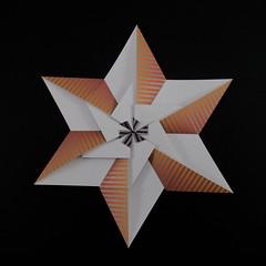 Star Ananke (variant C) (Michał Kosmulski) Tags: origami star modular unit 6pointed symmetry papercraft colorchange colourchange michałkosmulski kamipaper white orange