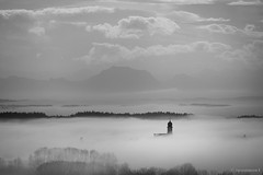 Morning Fog (spastman1) Tags: kirche nx nx1 samsung turm black bw church fog foggy morning mountains nebelmeer schwarz spastman1 sw weis white