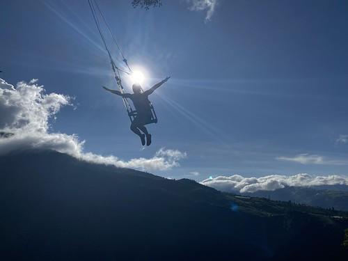 The Swing at the End of the World (lo Columpio del Fin del Mundo), la Casa del Árbol at 2,660 meters (8,727 feet) above sea level, Baños de Agua Santa, the Central Highlands, Ecuador.