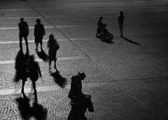 the great divide (gro57074@bigpond.net.au) Tags: bw monochrome night mono blackwhite monotone monochromatic diagonal thegreatdivide guyclift people motion silhouette still movement shadows sydney streetphotography motionblur stationary stphotographia august2019
