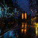 York at night in the rain.