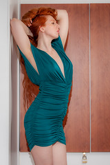 Angharada (Kotchka) Tags: red portrait hair model flash longhair indoor location redhead indoors boudoir artnude angharada dress greendress