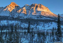 Mount Wilson, Icefields Parkway, Banff National Park, Canada (PhotosToArtByMike) Tags: saskatchewanrivercrossing mountwilson northsaskatchewanriver banffnationalpark sunrise saskatchewanriver icefieldsparkway canadianrockies banff albertacanada canadianicefieldsparkway mountain mountains alberta