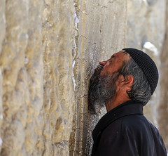 To Feel the Lord not Only in the Heart (ybiberman) Tags: alquds israel jerusalem jewishquarter kippah oldcity wailingwall westernwall beard candid documentary man people portrait pray stones streetphotography wall