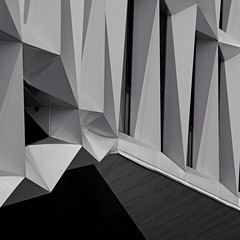 Abstract Architecture (2n2907) Tags: modern architecture graphic geometric geometry pattern lines graphical facets exterior building ac hotel catalan modernism dallas blackwhite bw