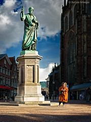 Meeting Point (Bart van Hofwegen) Tags: haarlem statue city citystreet citylife urban urbanphotography urbanlife street streetphotography wait waiting woman people