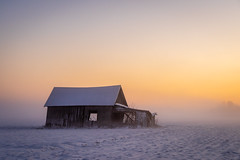 Barn (katrinlillenthal) Tags: loojang talv udu landscape sunset evening barn field snow winter finland vaasa nature beautyinnature builtstructure magic