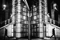 ground floor (blende9komma6) Tags: groundfloor parterre erdgeschoss aufzug fahrstuhl elevator light night licht nacht bw sw reflection reflektion spiegelung people street strasse city urban architecture architektur ricoh gr griii hannover südstadt germany