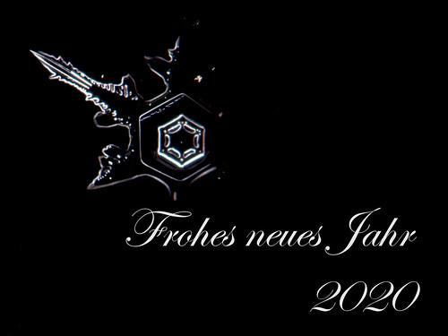Schneeflocke mit dem Text Frohes neues Jahr 2020