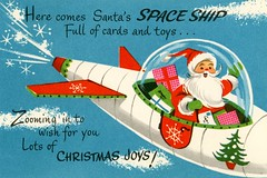 Santa's Spaceship Zooming in for Christmas Joys! (Alan Mays) Tags: ephemera greetingcards greetings cards christmascards paper printed christmas xmas december25 holidays santaclaus santa christmasjoys joy spaceships space outerspace zooming zoom toys presents poems poetry rhymes humor humorous funny illustrations borders red blue green antique old vintage typefaces type typography fonts coronationcollection greetingcardpublishers publishers printers