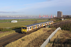 507002 New Brighton Warren 17th December 2019 (John Eyres) Tags: 507002 liverpool hope university passing sandcliffe road with 2n27 1253 new brighton via loop bulk carrier venture joy can be seen arriving for alexandra dock while container ship adelheid s alongside l2 river berth 171219 mersey