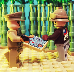 """Colonel of the Republic of China Air Force with a member of the """"Flying Tigers,"""" Kunming 1941 (brickhistorian) Tags: allies airforce air force america china republic taiwan brick bricks building build battle custom customs pacific history hero lego legos minifig minifigure moc military marines navy plane pilot planes squadron world war two usa ww2 wwii warfare contractor volunteer"""