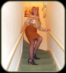 "Satin & Leather! (Kelly 38DD) Tags: tgirl ""cross dresser"" crossdresser crossdress ""satin blouse"" blouse satin ""leather skirt"" ""tight leather"" skirt leather tight"