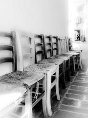Traffic jam (of chairs) (vale0065) Tags: monochrome monochroom piran pirran slovenia slovenië alley street straat steeg stoel chair empty leeg row rij blackwhite bw zwartwit