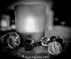 Day 351. (lizzieisdizzy) Tags: blackandwhite blackwhite black whiteandblack white whiteblack tabletop candle marble marbles glass monochrome mono monotone monochromatic chromatic christmas vessell cup jar colourful swirls glow glowing dof depthoffield decoration decorative
