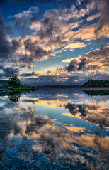 Summer morning,  Norway (Vest der ute) Tags: norway rogaland røyksund lindøy g7x sea seascape reflections landscape trees sky clouds earlymorning summer fav25 fav200