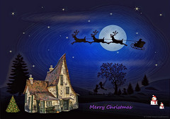 Merry Christmas (Rollingstone1) Tags: tree snowman silhouette house art artwork merrychristmas xmas christmastree santa reindeer sleigh stars swing sky vivid colour outdoor landscape moon