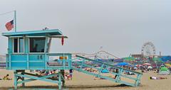 Santa Monica Beach House (lopezwill1994) Tags: santa monica losangeles beach lifeguard blue pier la sm gloomy cloudy amusement landscape beauty flag
